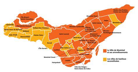 carte de montreal arrondissements  quartiers montreal