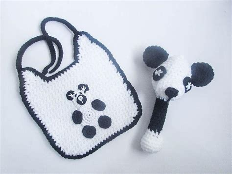Woolen Coat By Baby Panda panda baby bib and rattle crochet pattern by wistfully woolen