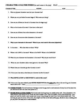 character profile template drama theatre drama character analysis form by mike