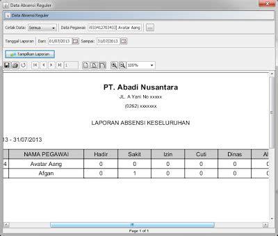 tutorial html2pdf php laporan absensi keseluruhan