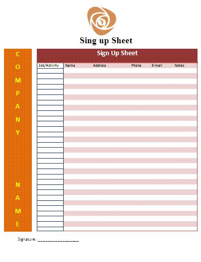 Signup Sheet Template Free Business Templates Microsoft Word Sign Template