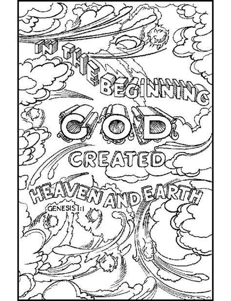 coloring pages for adults bible god created heaven and earth it