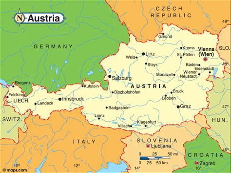 austria on map of world map of austria geography area map of austria region