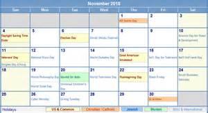 November 2018 Calendar With Holidays November 2018 Calendar With Holidays As Picture