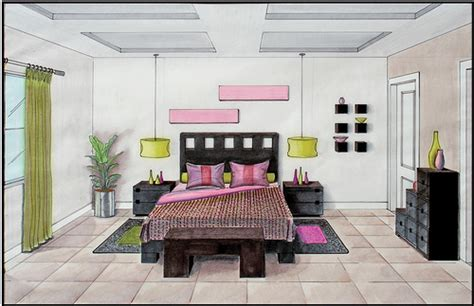 Drawing Room Bed Design Marker Rendering 3 One Point Perspective Rendering Flickr