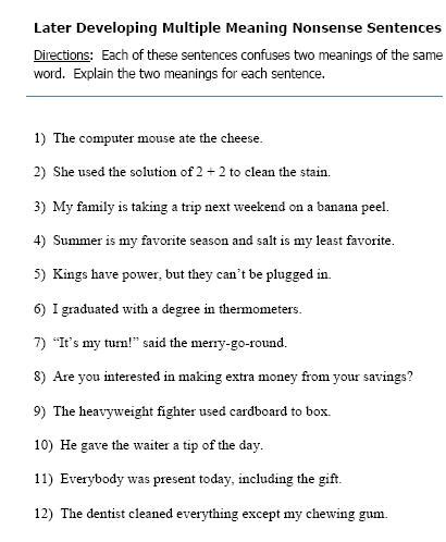 multiple meaning word worksheets 2nd grade multiple