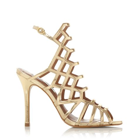 cage high heel sandals steve madden slither caged high heel sandals in metallic