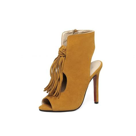 mustard cut out high heel ankle boots