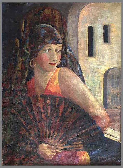 art deco  portrait california  original frame