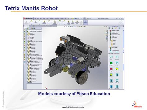 solidworks tutorial robot solidworks model tetrix mantis robot for ftc first tech