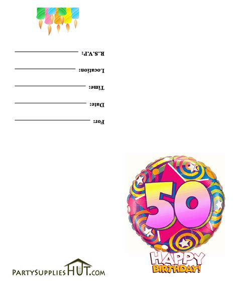 50th birthday card template free printable 50th birthday invitation cards
