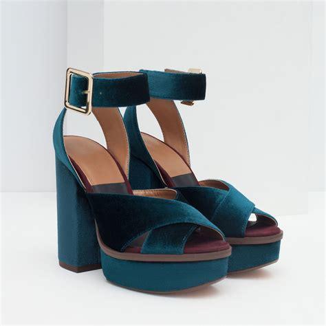 zara velvet platform sandal in blue lyst