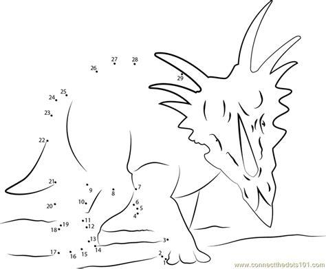 printable dot to dot dinosaurs styracosaurus dinosaur dot to dot printable worksheet