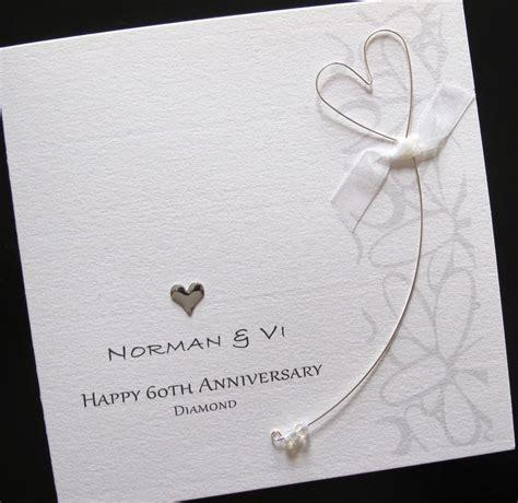 Handmade 60th Wedding Anniversary Cards - personalised handmade 60th wedding anniversary