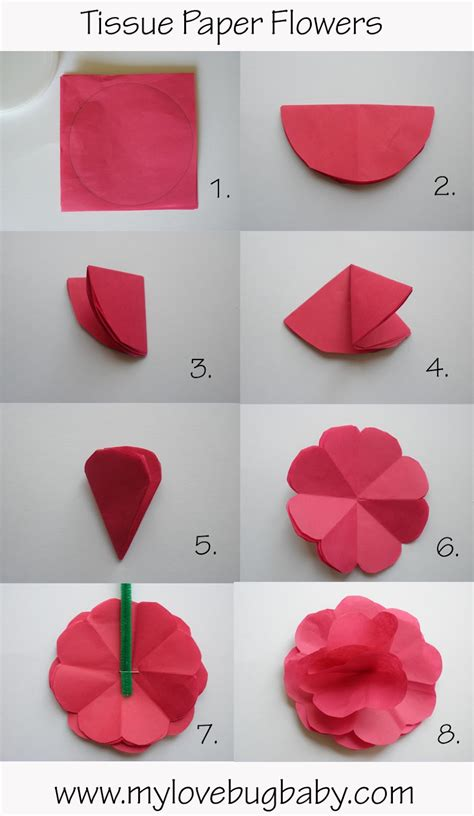 Tissue Paper Flowers Step By Step - make papercraft flowers papercraft