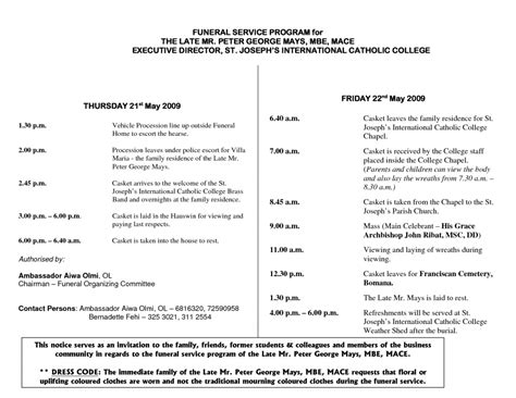 funeral mass template programs program templates catholic