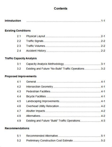 word report template with table of contents 22 table of contents pdf doc free premium templates