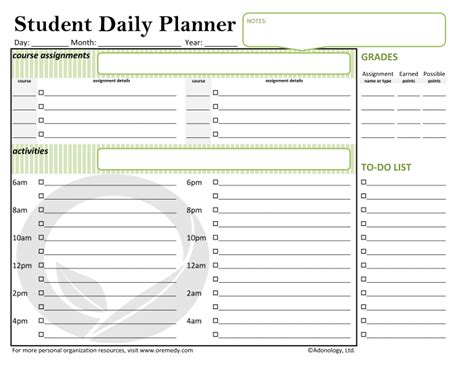 printable day planner for students what s new oremedy get organized be successful