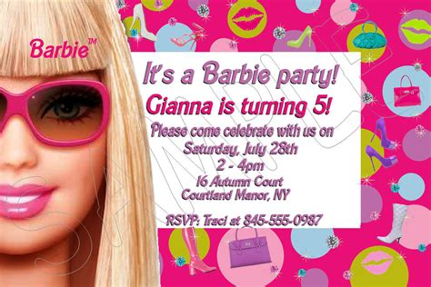 birthday invites very cute 10 barbie birthday invitations