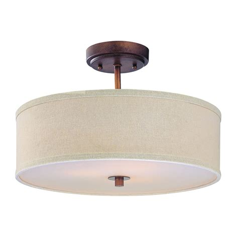 Drum Ceiling Light Drum Semi Flush Ceiling Light With White Shade 14 Inches Wide