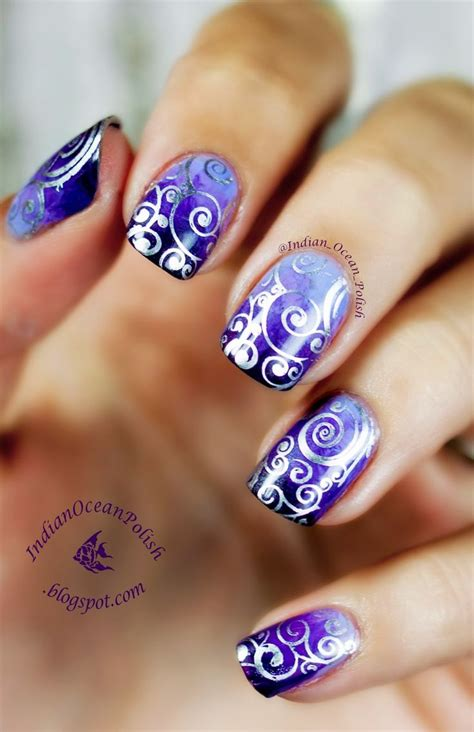 art design ideas purple marbled gradient with moyou suki 07 sted swirls sting nail art design ideas