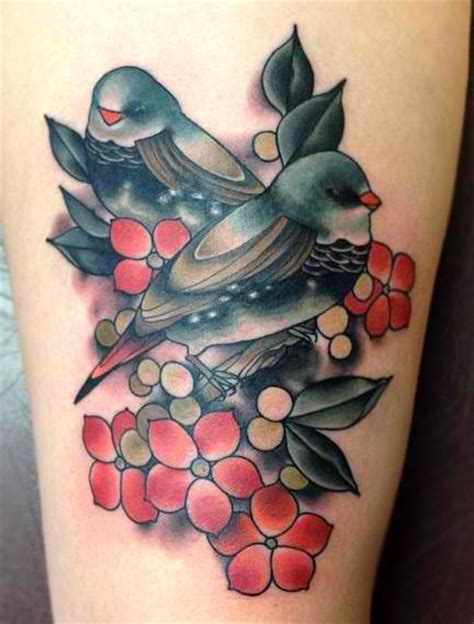 bird and flower tattoo two birds and flowers