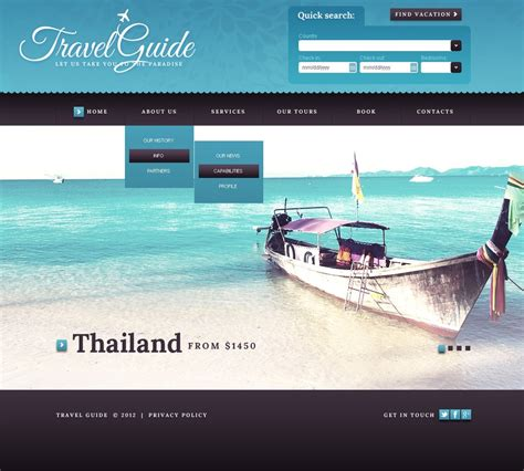 Travel Websites Templates by Travel Guide Website Template 41508