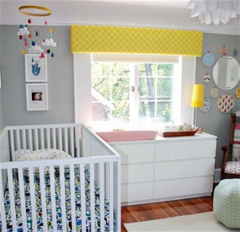 the wall color and bright pops of color gray