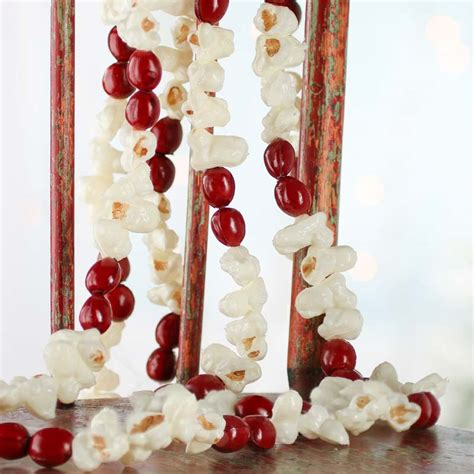 artificial popcorn and cranberry garland christmas