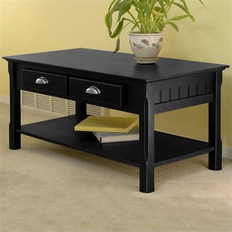 Solid Wood Coffee Table In Black 20238 Coffee Tables Black Wood