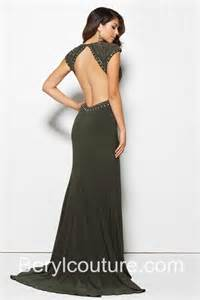 Home sexy deep v neck side cut out slit backless olive green chiffon