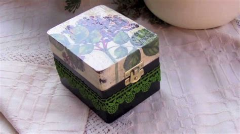 decoupage tutorial shoe box decoupage tutorial diy box with dyed lace youtube