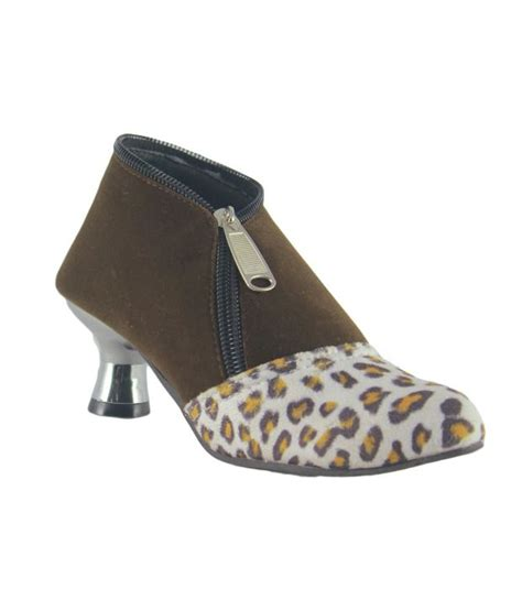 faith brown faux leather boots for price in india
