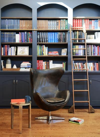 bookcase ladder transitional den library office ore
