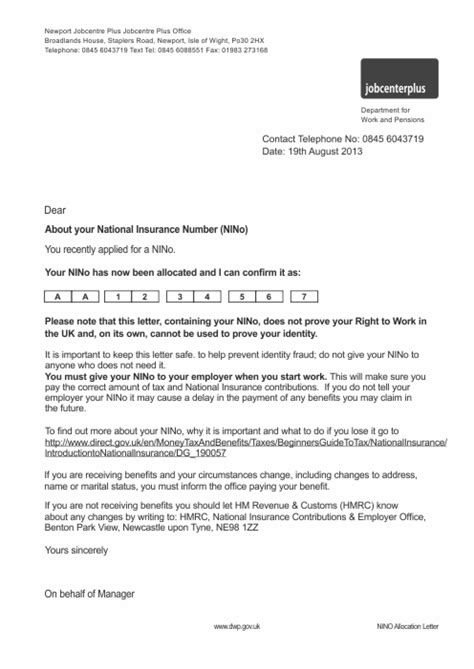 National Insurance Number Letter Of Confirmation Car Insurance Photos National Insurance Information 2011