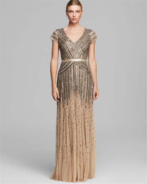 dress cap sleeve beaded sequin gown papell dress v neck cap sleeve beaded in brown