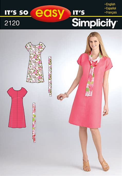 dressmaking pattern ease simplicity 2120 misses dress and scarf sewing pattern