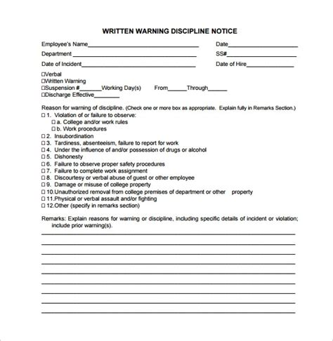 Written Warning Template For Attendance Letters Free Sle Letters Written Warning Template Attendance