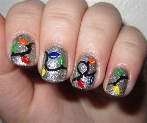zoendout nails christmas lights nail tutorial