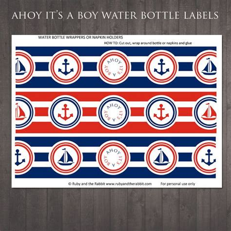 printable nautical labels printable ahoy it s a boy water bottle labels for a