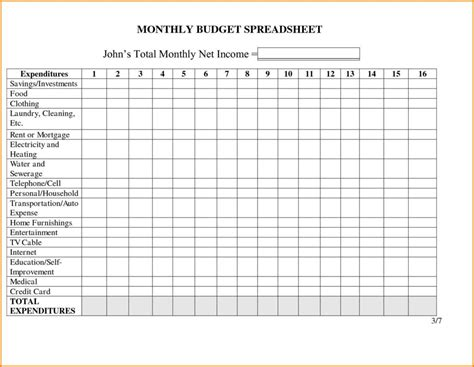 monthly income and expense spreadsheet for rental property