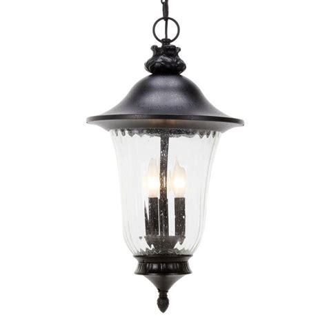 Outdoor Pendant Lighting Home Depot Glomar 3 Light Outdoor Textured Black Incandescent Pendant Light Hd 982 The Home Depot