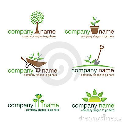 set of six gardening and nature logos vector stock photo image 21867810