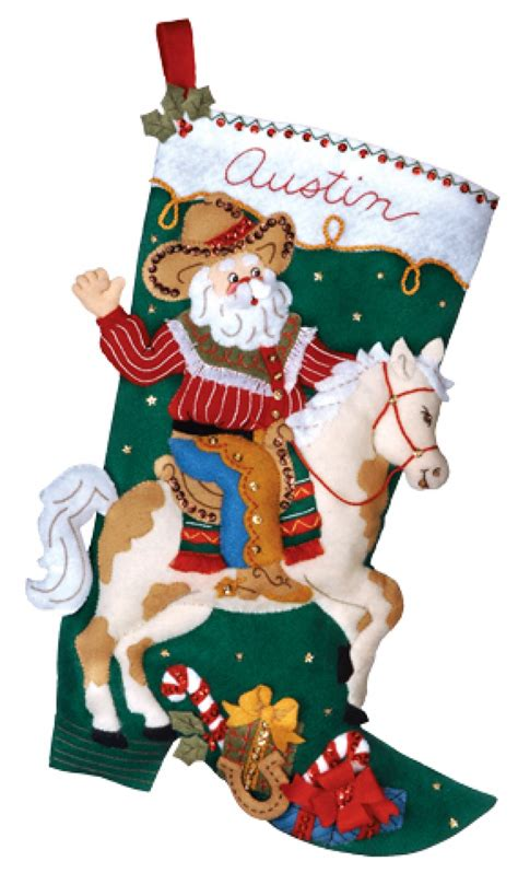 felt applique kits cowboy santa bucilla kit