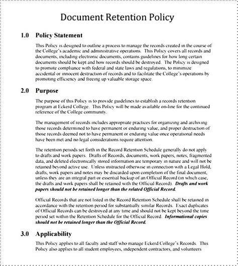 document retention policy free besttemplates123