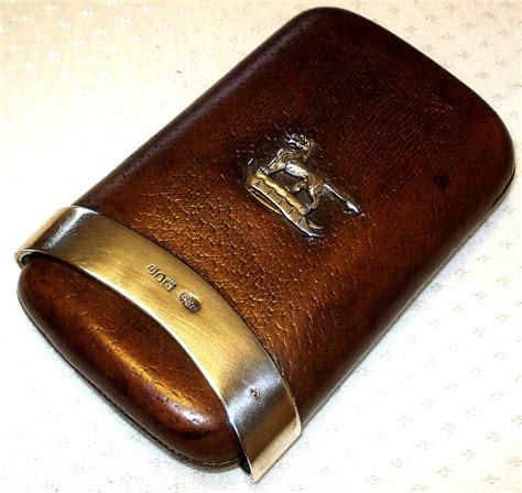 antique antique mappin webb silver leather cigar