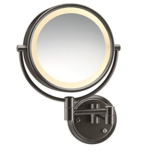 conair double sided lighted wall mount mirror brushed nickel conair round shaped double sided wall mount lighted makeup
