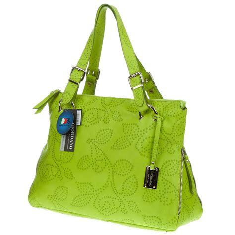 Totebag Green Flower giordano italian made green flower embossed leather tote handbag