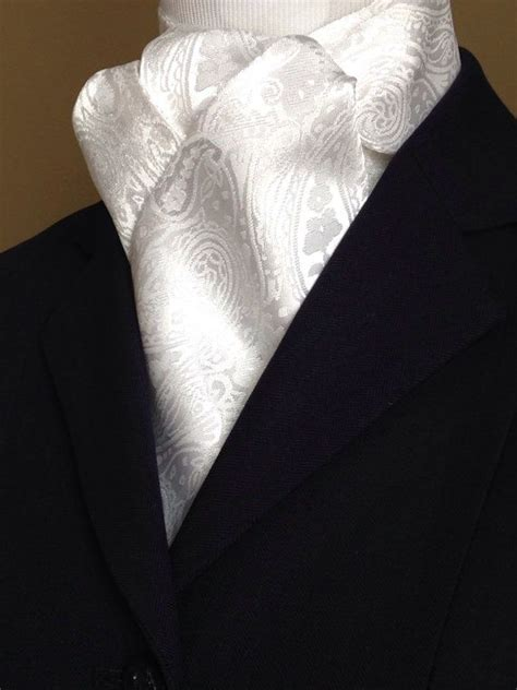 equestrian stock tie white stock tie regal white on white equestrian stock tie white paisley brocade stock tie