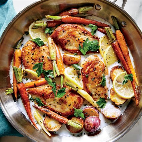 light lunch ideas for guests skillet chicken with roasted potatoes carrots recipe